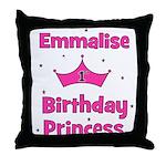 1st Birthday Princess Emmalis Throw Pillow