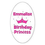 1st Birthday Princess Emmalis Oval Sticker