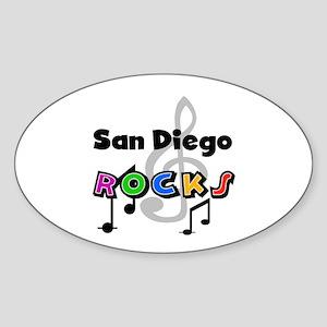 San Diego Rocks Oval Sticker