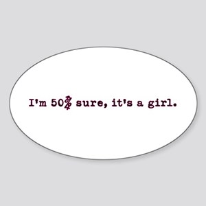 50% girl Oval Sticker