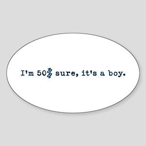 50% boy Oval Sticker