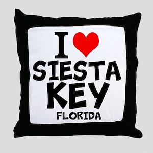 I Love Siesta Key, Florida Throw Pillow