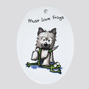 Must Love Frogs Cairn Oval Ornament