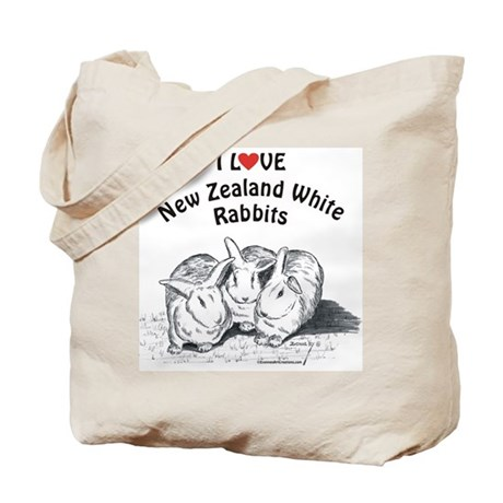 I Love NZW Rabbits Tote Bag