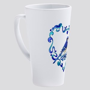 Blue Jay Bird in Fancy Heart 17 oz Latte Mug