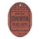 Edmonton Streetcar Railway Ticket Oval Ornament