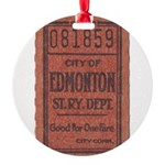 Edmonton Streetcar Railway Ticket Round Ornament