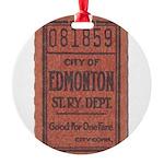 Edmonton Streetcar Railway Ticket Round Ornament