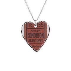 Edmonton Streetcar Railway Ticket Necklace Heart C