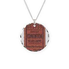 Edmonton Streetcar Railway Ticket Necklace Circle