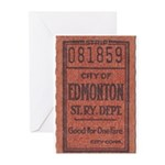 Edmonton Streetcar Railway Ticket Greeting Cards