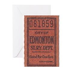 Edmonton Streetcar Railway Ticket Greeting Cards