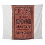 Edmonton Streetcar Railway Ticket Wall Tapestry