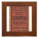 Edmonton Streetcar Railway Ticket Framed Tile