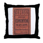 Edmonton Streetcar Railway Ticket Throw Pillow