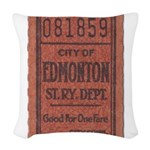 Edmonton Streetcar Railway Ticket Woven Throw Pill