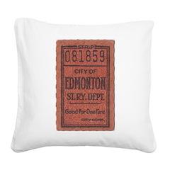 Edmonton Streetcar Railway Ticket Square Canvas Pi