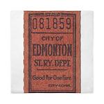 Edmonton Streetcar Railway Ticket Queen Duvet