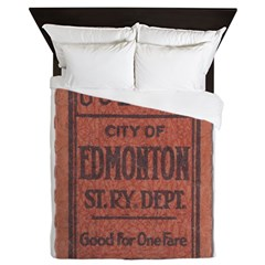 Edmonton Streetcar Railway Ticket Queen Duvet