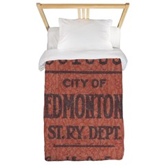 Edmonton Streetcar Railway Ticket Twin Duvet Cover