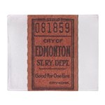 Edmonton Streetcar Railway Ticket Throw Blanket