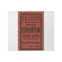 Edmonton Streetcar Railway Ticket Throw Blanket