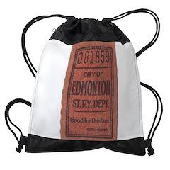 Edmonton Streetcar Railway Ticket Drawstring Bag