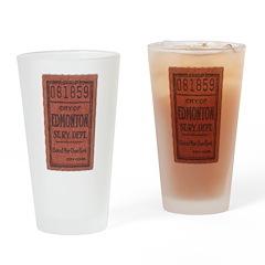 Edmonton Streetcar Railway Ticket Drinking Glass