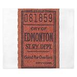 Edmonton Streetcar Railway Ticket King Duvet
