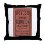 Edmonton Streetcar Railway Ticket Throw Pillow