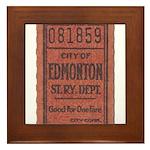 Edmonton Streetcar Railway Ticket Framed Tile