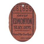 Edmonton Streetcar Railway Ticket Oval Ornament