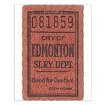 Edmonton Streetcar Railway Ticket Small Poster