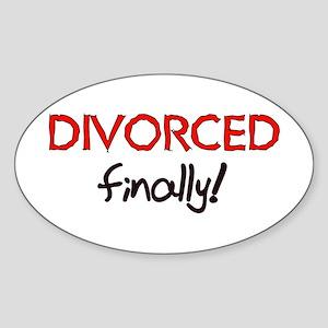 Divorced Finally Oval Sticker