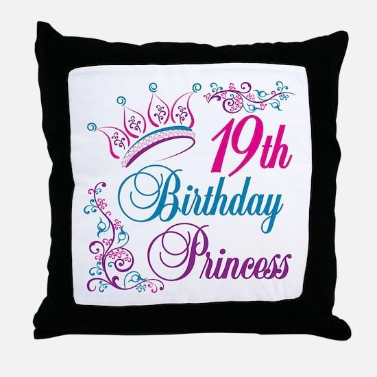 19th Birthday Princess Throw Pillow
