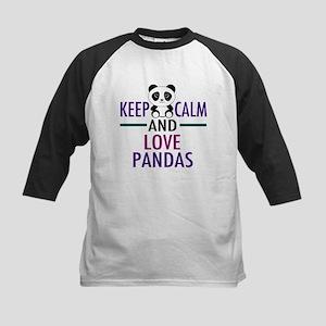 Keep Calm Panda Kids Baseball Tee