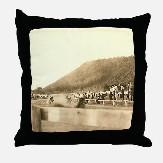 Vintage Motorcycle Half Miler Throw Pillow