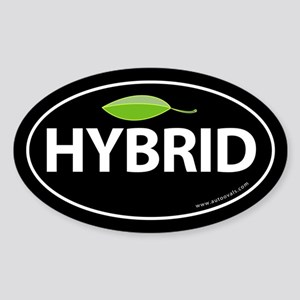 Hybrid Auto Bumper Oval Sticker -Black with Leaf