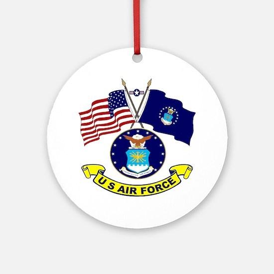 USAF-USA Flags Ornament (Round)