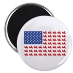 "Goldwing Motorcycle Flag Tee 2.25"" Magnet (10"
