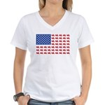 Goldwing Motorcycle Flag Tee Women's V-Neck T-Shir