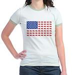 Goldwing Motorcycle Flag Tee Jr. Ringer T-Shirt