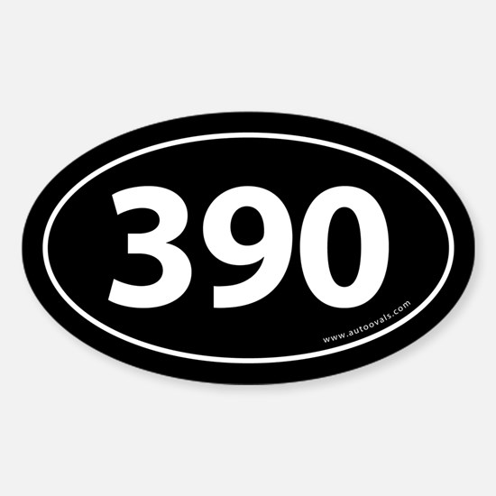 390 Auto Bumper Oval Sticker -Black