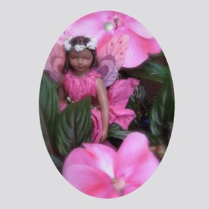 Pink Impatiens Fairy Oval Pendant