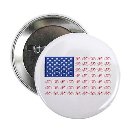 "Bicycle Patriotic Flag 2.25"" Button"