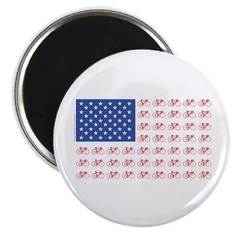 """Bicycle Patriotic Flag 2.25"""" Magnet (10 pack)"""