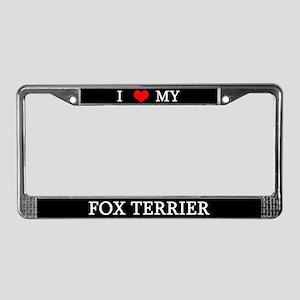 Love Fox Terrier License Plate Frame