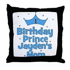 1st Birthday Prince Jayden's Throw Pillow