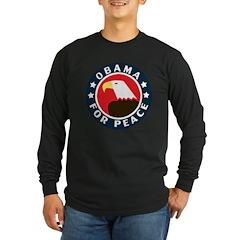 Obama For Peace Long Sleeve Dark T-Shirt