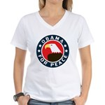 Obama For Peace Women's V-Neck T-Shirt